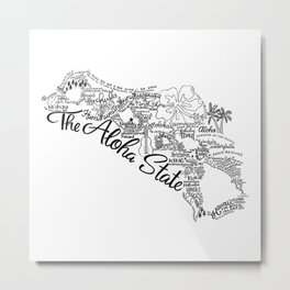 Hawaii - Hand Lettered Map Metal Print