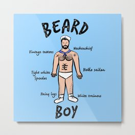 Beard Boy: Sailor Style Metal Print
