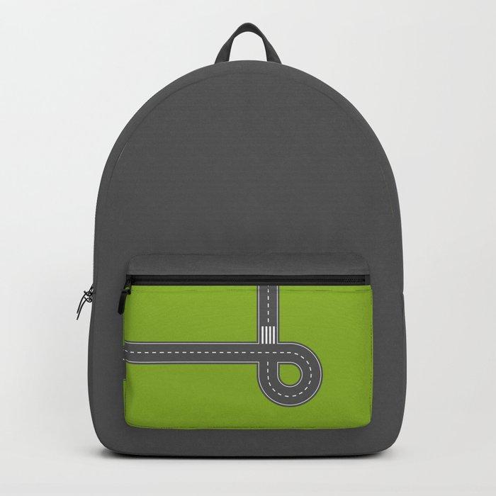Road print. Green Backpack