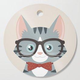 Grey Tabby Hipster Cat Cutting Board