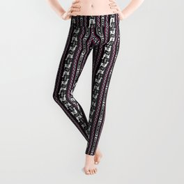 Llamas_Fuchsia stripes Leggings