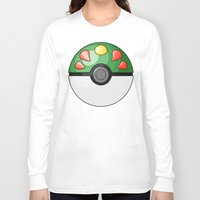 pokeball Long Sleeve T-shirts featuring Friendship Pokeball by Amandazzling