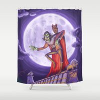 dracula Shower Curtains featuring Dracula by cheesecake