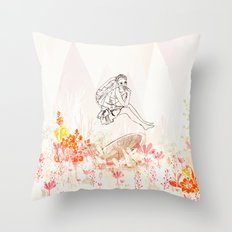 mashroom lady wonderland  Throw Pillow