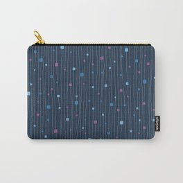 Squares and Vertical Stripes - Cold Colors on Blue - Hanging Carry-All Pouch