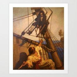 One more step Mr. Hands - N.C. Wyeth painting Art Print