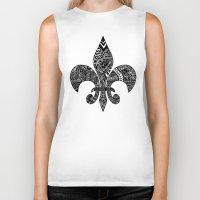 fleur de lis Biker Tanks featuring Fleur De Lis on White by Riaora Creations