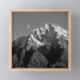 Moon Over Pioneer Peak B&W Framed Mini Art Print