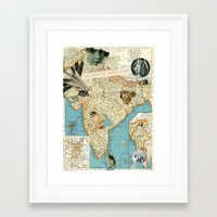india Framed Art Prints featuring India by Ubik Designs