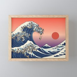 The Great Wave of Pug Red Framed Mini Art Print