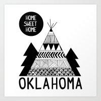 oklahoma Art Prints featuring Oklahoma by Ashley Love
