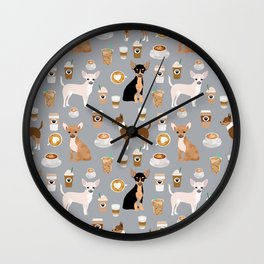 Chihuahua dog breed coffee pupuccino dog art chiwawas chihuahuas gifts Wall Clock
