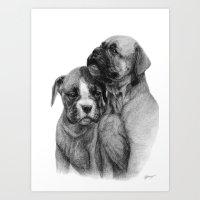 puppies Art Prints featuring Boxer Puppies by Danguole Serstinskaja