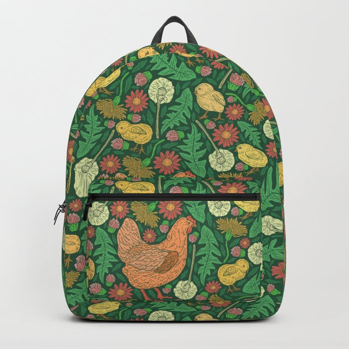 Orange hen with yellow chickens and dandelions on green background Backpack