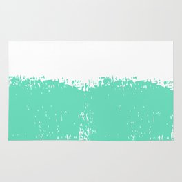 Abstract teal white modern artistic paint brushstrokes Rug