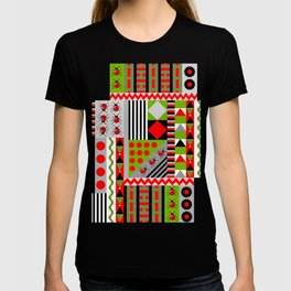 Geometric spring design with ladybugs and flowers T-shirt