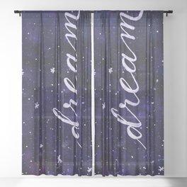Watercolor galaxy dream - dark blue Sheer Curtain