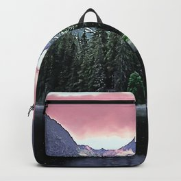 Purple Dusk Falling on Lake and Forest Backpack