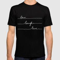 Love Laugh Live (Black) LARGE Black Mens Fitted Tee