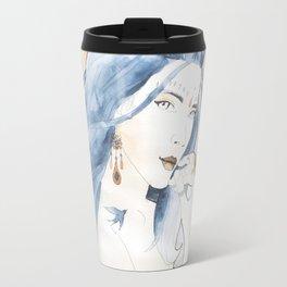 Blue hair art nouveau Travel Mug