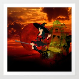 Witch and Red Moon Art Print