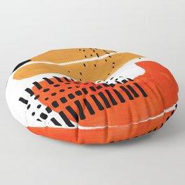 Mid Century Modern Abstract Minimalist Retro Vintage Style Fun Playful Ochre Yellow Ochre Orange Sha Floor Pillow