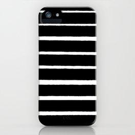 Rough White Thin Stripes on Black iPhone Case