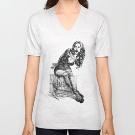 Composition with Lady Unisex V-Neck