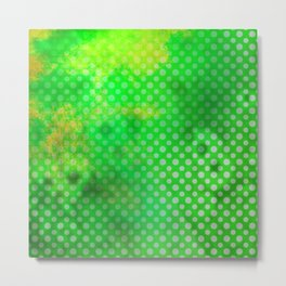 Texture in Green Flash with Polka Dots Metal Print