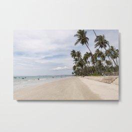 empty beach with palmtrees Vietnam Metal Print