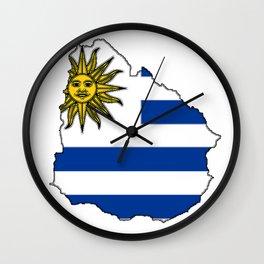 Uruguay Map with Uruguayan Flag Wall Clock