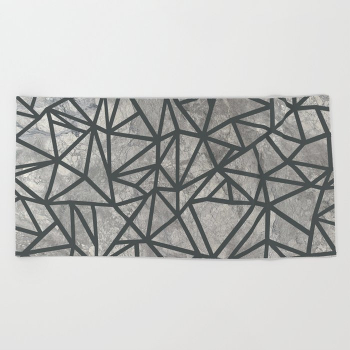 Ab Marb Grey 2 Beach Towel