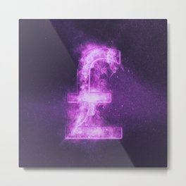 Pound sterling sign, Pound sterling Symbol. Monetary currency symbol. Abstract night sky background. Metal Print