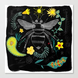 Bee Botanical Folk Art Illustration Canvas Print