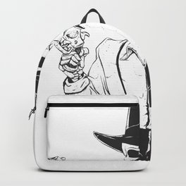Gangster skull - grim  reaper cartoon - black and white Backpack