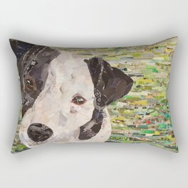 dog collage on canvas green Rectangular Pillow