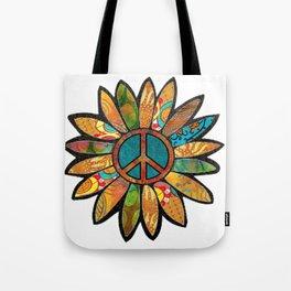 Earthy Peace Flower Tote Bag