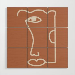 Woman Face, Burnt Orange, Minimal Line Drawing Wood Wall Art