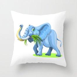 Blue Elephant Cartoon Artwork Throw Pillow