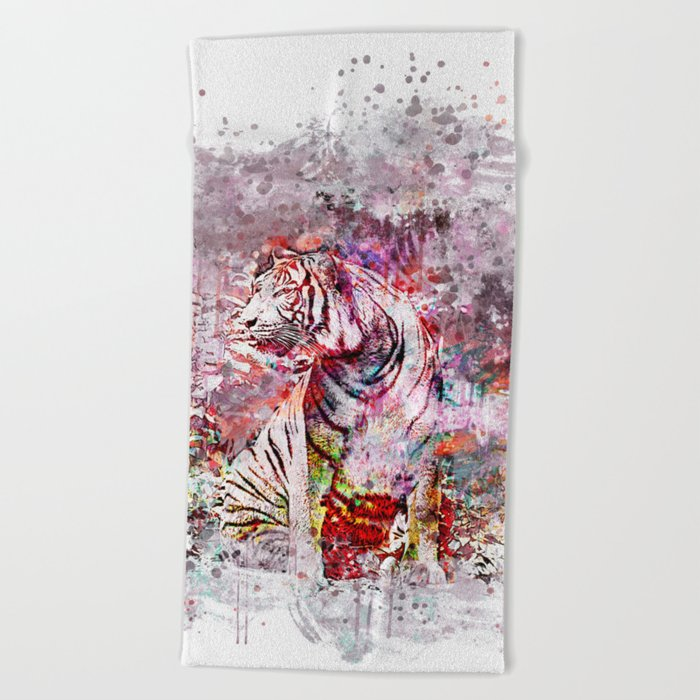 Tiger Watercolor Painted Art Beach Towel