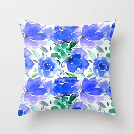 Big Blue Watercolour Painted Floral Pattern Throw Pillow