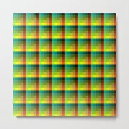 Ocean and Sunset Turquoise and Orange Pixel Art Pattern Metal Print