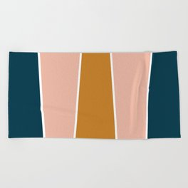Retro Autumn Color Block Beach Towel