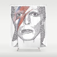 bowie Shower Curtains featuring Bowie by S. L. Fina