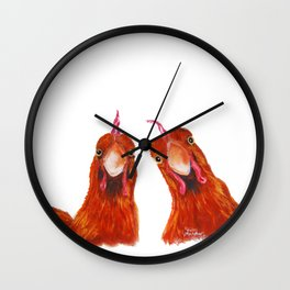 Happy Hens / Chickens ' HARRIET & HUMBUG ' by Shirley MacArthur Wall Clock