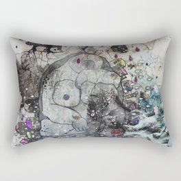 """A woman with a flower""  Illustrated print. Rectangular Pillow"