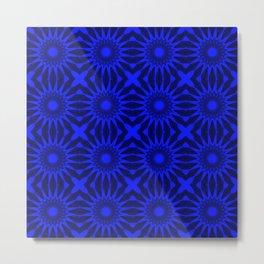 Blue Pinwheel Flowers Floral Pattern Metal Print