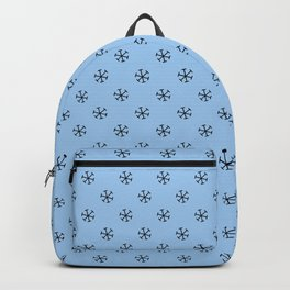 Black on Baby Blue Snowflakes Backpack