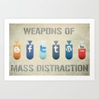 weapons of mass creation Art Prints featuring Weapons of Mass Distraction by Hunter Langston Designs