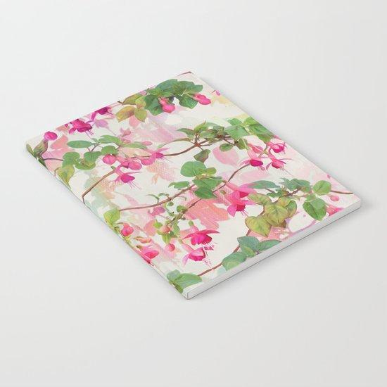 Rainbow Fuchsia Floral Pattern Notebook